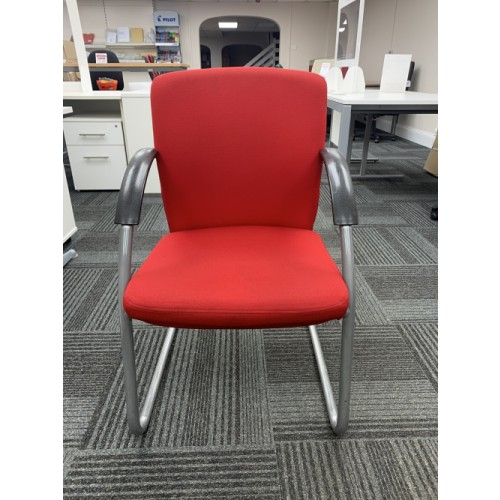 Reception/Visitor Chair, With Arms. In Red Fabric. 5 In Stock