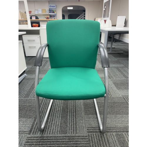 Reception/Visitor Chair, In Green Fabric. 4 In Stock