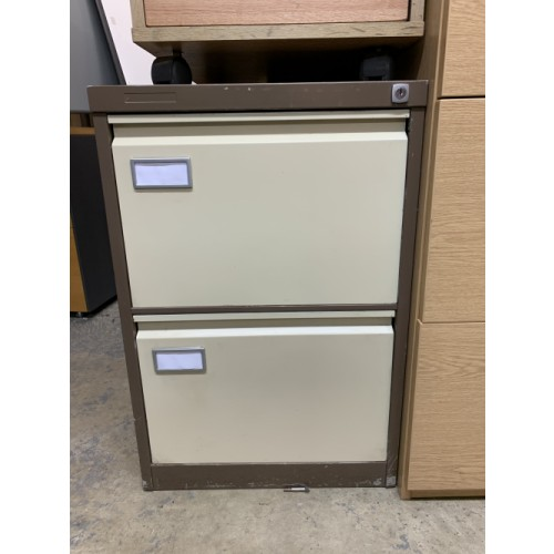 Filing Cabinet, 2 Drawer. In Coffee/Cream. 1 In Stock