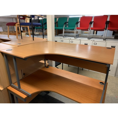 Crescent Desk, In Beech Finish. 1600mm Width x 1200mm Depth. 1 Left-Hand In Stock