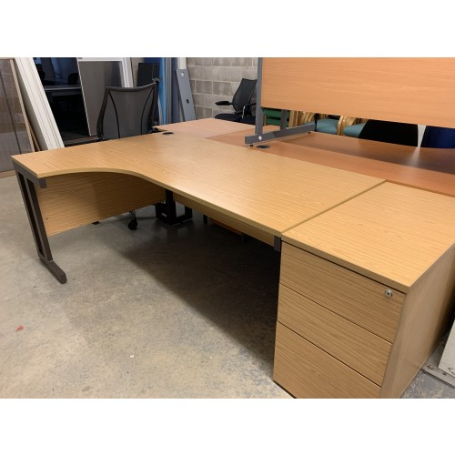 Crescent Desk & Desk High (800mm Depth) Pedestal, In Oak Finish. 1800mm Width x 1200mm Depth. 1 Left & 1 Right-Hand In Stock