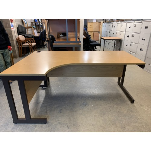 Crescent Desk, In Oak Finish. 1600mm Width x 1200mm Depth. 2 Right-Hands In Stock