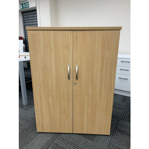 Double Door Cupboard, With 3 Shelves, In Limed Oak Finish/Graphite Sides. 1090mm High x 800mm Width x 470mm Depth. 13 In Stock