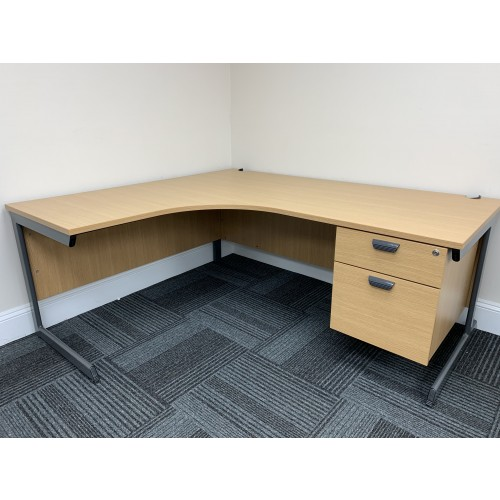 Crescent Desk & Fixed Pedestal, In Oak Finish. 1800mm Width x 1600mm Depth. 5 left & 4 Right-Hand In Stock