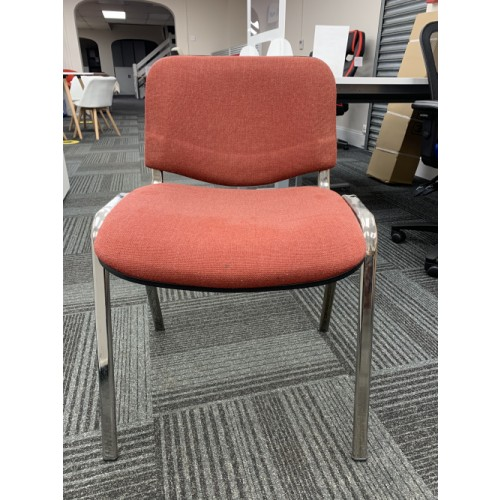 Reception/Visitor Chair, Red Fabric/Chrome Frame. 3 In Stock