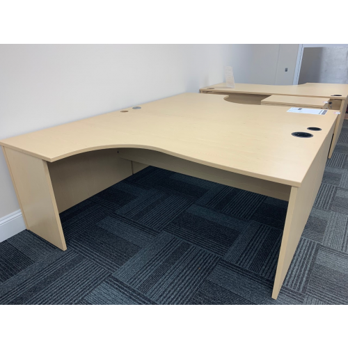 Crescent Desk, Finished In Maple. 1800mm Width x 1200mm Depth. 1 Left-Hand Available
