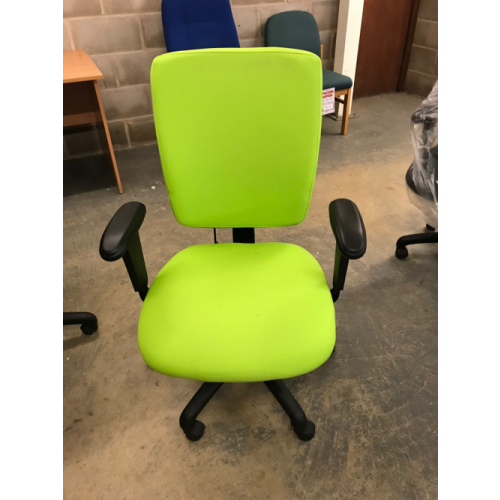 Task Chair, High Back, With Adjustable Arms. In Madura Green Fabric.