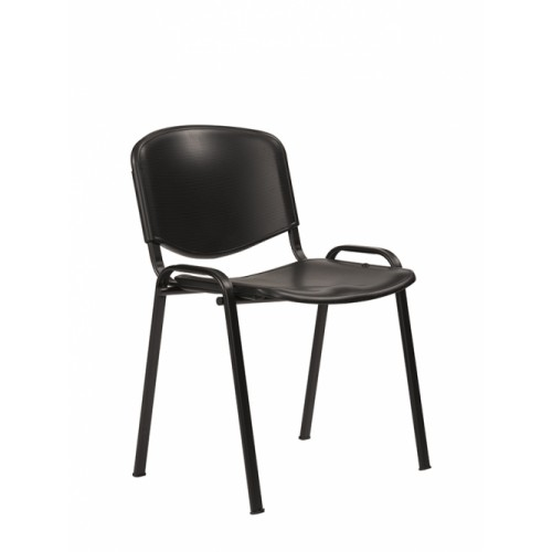 Stacking Chair (Flipper Range). With Black Moulded Plastic Seat & Back.