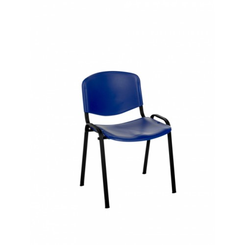 Stacking Chair (Flipper Range). With Blue Moulded Plastic Seat & Back.
