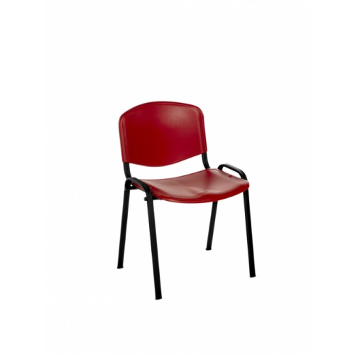 Stacking Chair (Flipper Range). With Red Moulded Plastic Seat & Back.