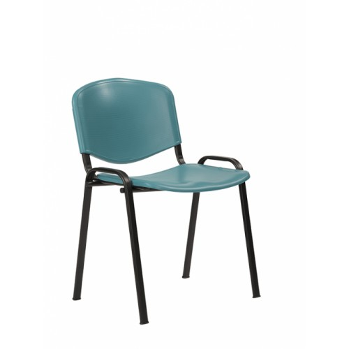 Stacking Chair (Flipper Range). With Green Moulded Plastic Seat & Back.
