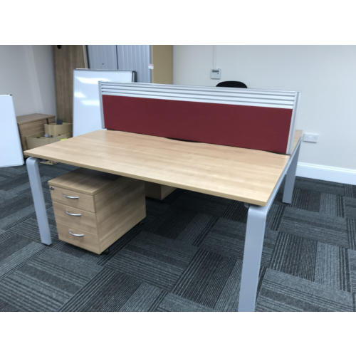 Set Of Two Back-To-Back Bench Desking (Birch Finish), 1600mm Width x 800mm Depth. Each With Lockable Mobile Pedestal & Burgundy Desk Top Screen. 4 Sets In Stock
