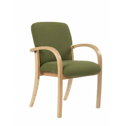 Visitor/Meeting Chair, Squared Back. With Arms & Beech Frame.