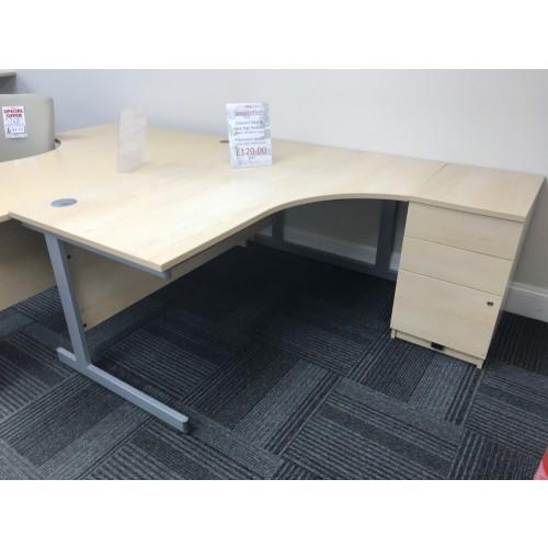 Crescent Desk & Desk High Pedestal, Finished In Maple. 1600mm Width x 1200mm Depth. 1 In Stock