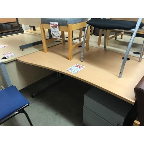 Wave Desk, Left-Hand, Finished In Beech. 1400mm Width x 1000-800mm Depth. 1 In Stock
