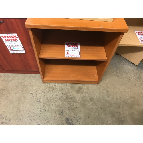 Open Fronted Storage Unit, 600mm Width, Finished In Cherry. 1 In Stock