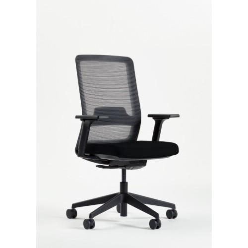 Mesh Back Task Chair - Black Frame, Base, Castors & Adjustable Arms