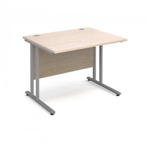 Maestro 25 SL Straight Desk - 1000mm x 800mm - Silver Cantilever Frame & Maple Top