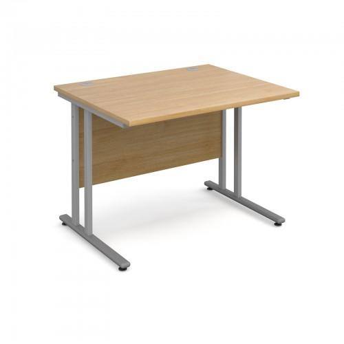 Maestro 25 SL Straight Desk - 1000mm x 800mm - Silver Cantilever Frame & Oak Top