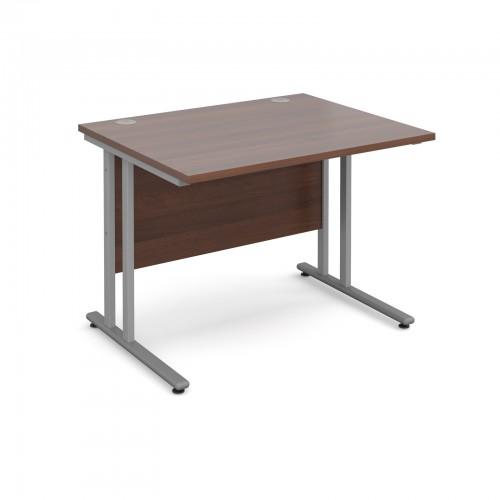 Maestro 25 SL Straight Desk - 1000mm x 800mm - Silver Cantilever Frame & Walnut Top