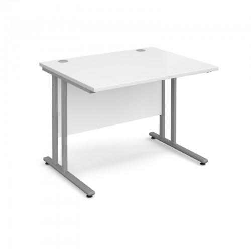 Maestro 25 SL Straight Desk - 1000mm x 800mm - Silver Cantilever Frame & White Top