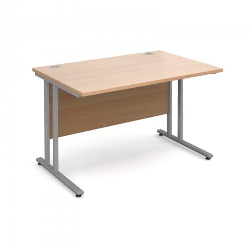 Maestro 25 SL Straight Desk - 1200mm x 800mm - Silver Cantilever Frame & Beech Top