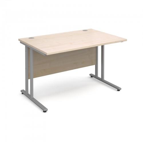 Maestro 25 SL Straight Desk - 1200mm x 800mm - Silver Cantilever Frame & Maple Top