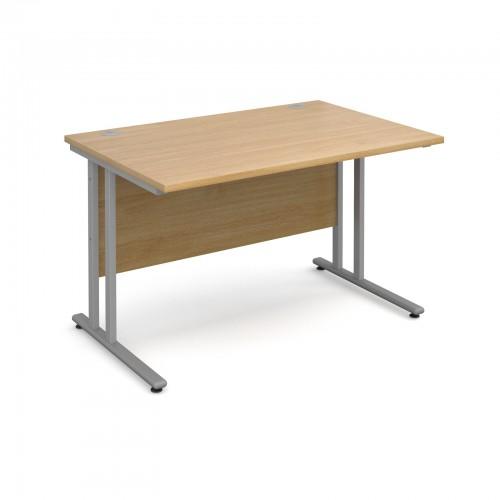 Maestro 25 SL Straight Desk - 1200mm x 800mm - Silver Cantilever Frame & Oak Top