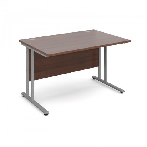 Maestro 25 SL Straight Desk - 1200mm x 800mm - Silver Cantilever Frame & Walnut Top
