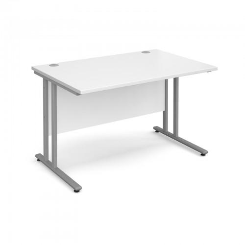 Maestro 25 SL Straight Desk - 1200mm x 800mm - Silver Cantilever Frame & White Top
