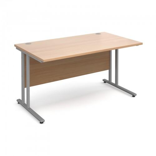 Maestro 25 SL Straight Desk - 1400mm x 800mm - Silver Cantilever Frame & Beech Top