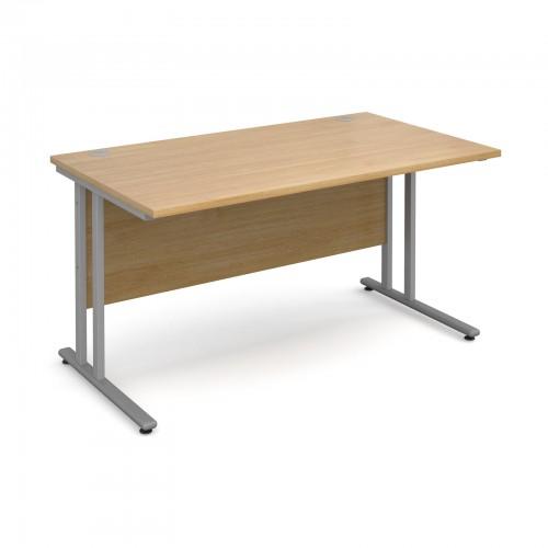 Maestro 25 SL Straight Desk - 1400mm x 800mm - Silver Cantilever Frame & Oak Top