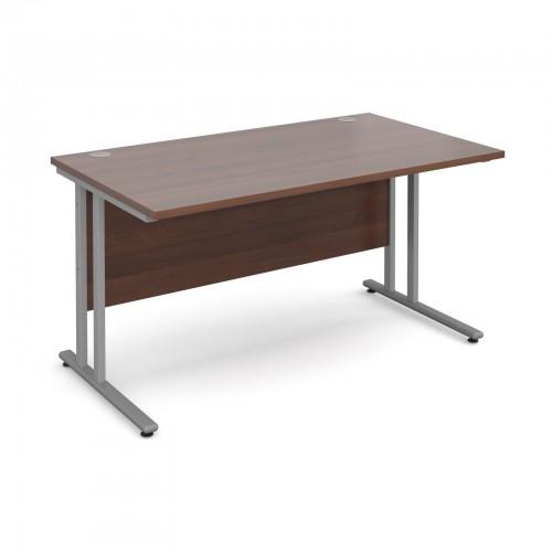 Maestro 25 SL Straight Desk - 1400mm x 800mm - Silver Cantilever Frame & Walnut Top