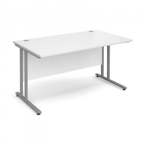 Maestro 25 SL Straight Desk - 1400mm x 800mm - Silver Cantilever Frame & White Top