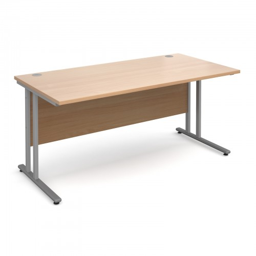 Maestro 25 SL Straight Desk - 1600mm x 800mm - Silver Cantilever Frame & Beech Top