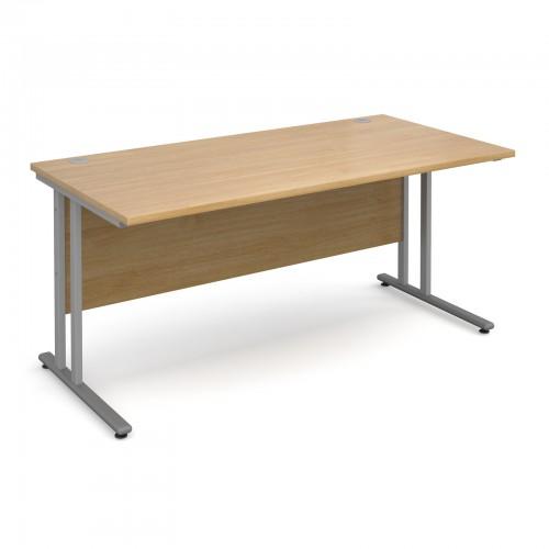 Maestro 25 SL Straight Desk - 1600mm x 800mm - Silver Cantilever Frame & Oak Top