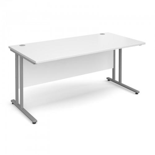 Maestro 25 SL Straight Desk - 1600mm x 800mm - Silver Cantilever Frame & White Top