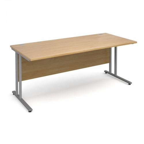 Maestro 25 SL Straight Desk - 1800mm x 800mm - Silver Cantilever Frame & Oak Top