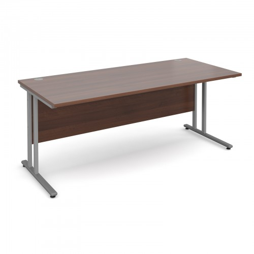 Maestro 25 SL Straight Desk - 1800mm x 800mm - Silver Cantilever Frame & Walnut Top