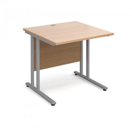 Maestro 25 SL Straight Desk - 800mm x 800mm - Silver Cantilever Frame & Beech Top