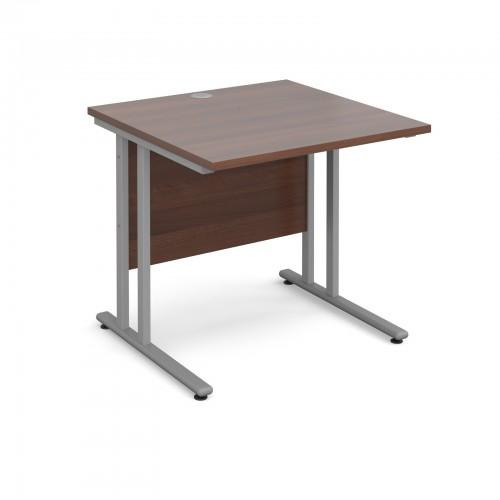 Maestro 25 SL Straight Desk - 800mm x 800mm - Silver Cantilever Frame & Walnut Top