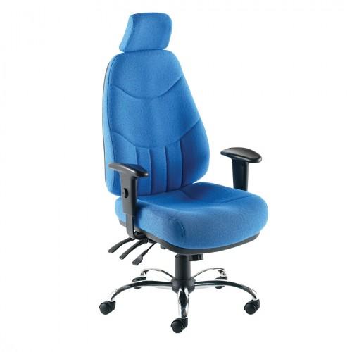 High Back 24 Hour Executive Chair, With Headrest. Vast Range Of Colour Fabrics Available.