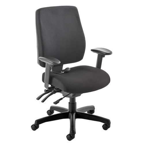 High Back Executive Chair, With Inflatable Lumbar Support. Vast Range Of Colour Fabrics Available