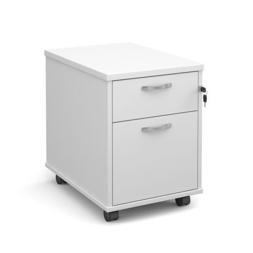 NEW - Mobile Pedestal, 2 Drawer, In White. 2 In Stock (NEW - Cancelled Order)
