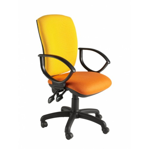 Square Back Operator Chair, With Fixed Loop Arms. Vast Range Of Colour Fabrics Available