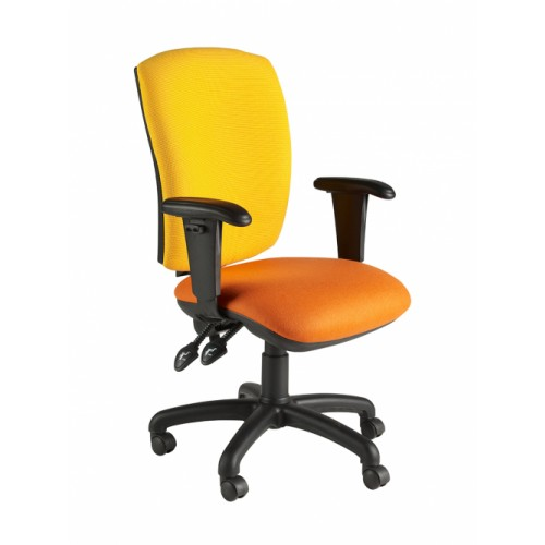 Square Back Operator Chair, With Adjustable Arms. Vast Range Of Colour Fabrics Available