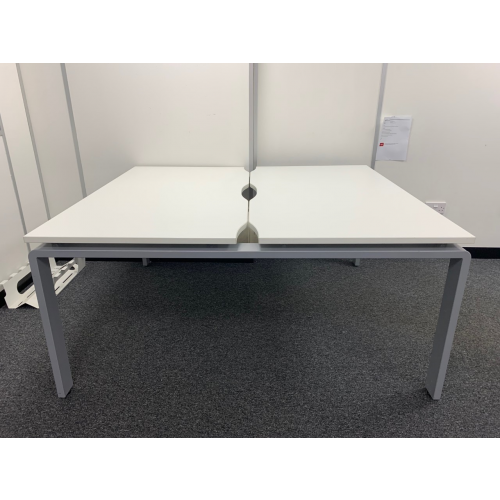 Set Of Two Back-To-Back Bench Desking & Mobile Pedestals, White Finish. 1400mm Width x 800mm Depth (Each Desk). 4 Sets In Stock
