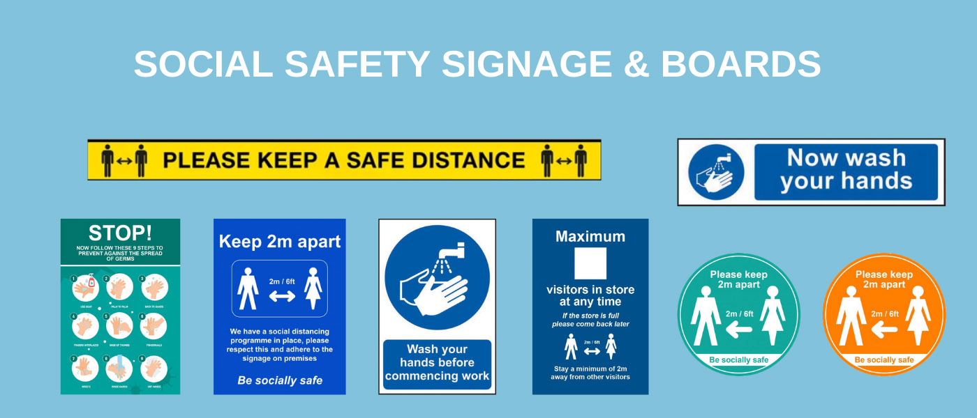 Social Distance signage and boards
