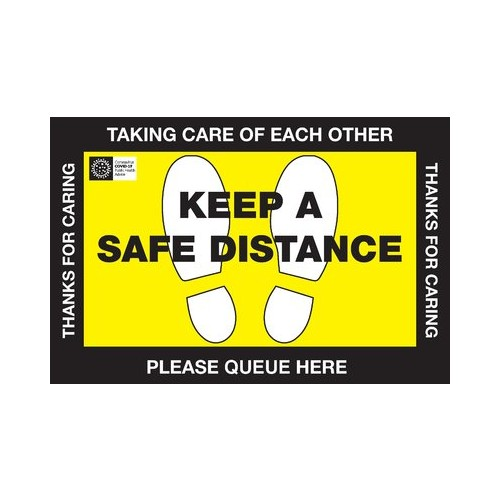 Queue here Safe Distance Floor vinyl signs 450x300mm (Pack of 10)