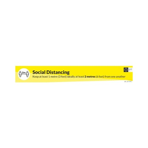 Social Distance floor vinyla sign 2000mm x 297mm (Pack of 2)